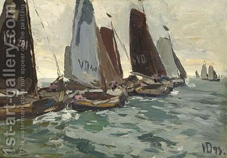 Volendam Sailing Vessels At The Zuiderzee by Hans Von Bartels - Reproduction Oil Painting
