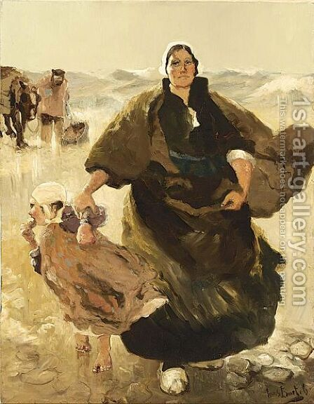 A Dutch Fisherwoman With Child On The Beach by Hans Von Bartels - Reproduction Oil Painting