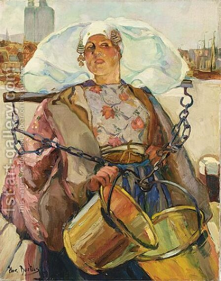 A Dutch Fisherwoman Carrying Buckets by Hans Von Bartels - Reproduction Oil Painting