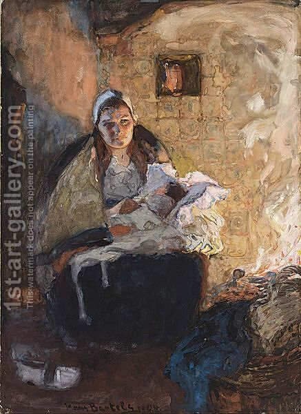 Dutch Mother And Child In A Fire Lit Interior by Hans Von Bartels - Reproduction Oil Painting