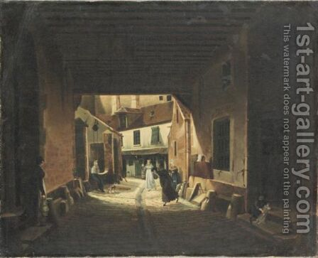 Le Jeu De Paume Dans Une Rue De Paris by (after) Etienne Bouhot - Reproduction Oil Painting