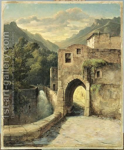 Vue D'Un Village En Bordure De Torrent by Alexandre Calame - Reproduction Oil Painting