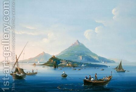 Veduta Di Procida Da Ischia by (after) La Pira - Reproduction Oil Painting