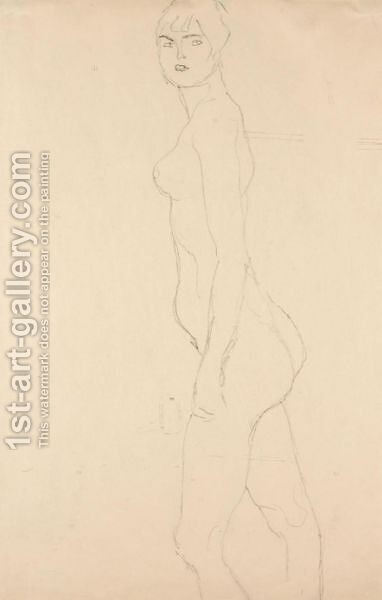 Akt Nach Links, Studie Fur 'Die Freundinnen' (Nude Turned To The Left, Study For 'Die Freundinnen') by Gustav Klimt - Reproduction Oil Painting