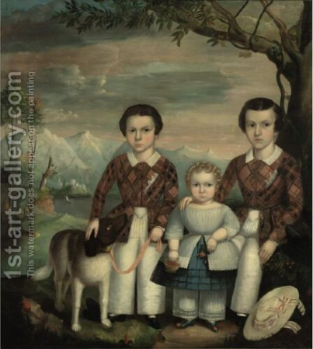Three Children With Straw Hat And Dog by American School - Reproduction Oil Painting