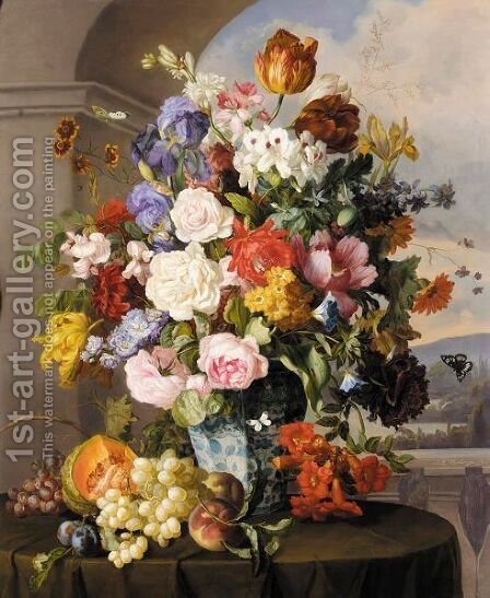 Rosen Und Tulpen In Blau-Weisser Vase (Roses, Tulips And Other Flowers In A Blue And White Vase) by Anton Hartinger - Reproduction Oil Painting