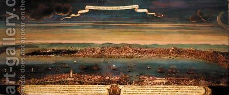 'Prospetiva Di Constantinopoli Per Tramontana Parte Del Porto' (Panoramic View Of Constantinople From The North) by Italian School - Reproduction Oil Painting