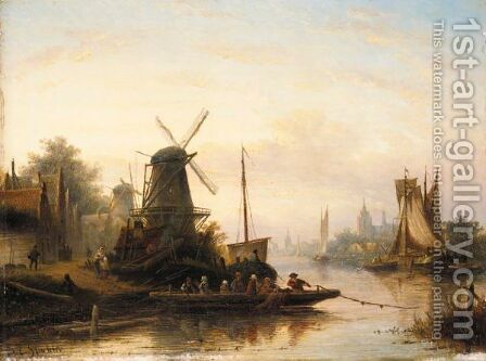 The River Crossing by Jan Jacob Coenraad Spohler - Reproduction Oil Painting