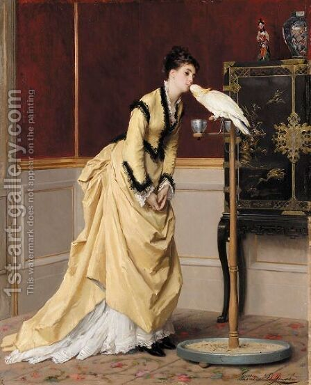 Le Baiser by Gustave Leonhard de Jonghe - Reproduction Oil Painting