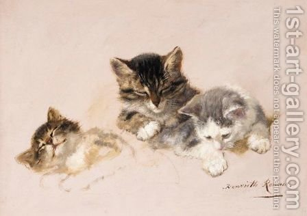 Three Little Kittens by Henriette Ronner-Knip - Reproduction Oil Painting
