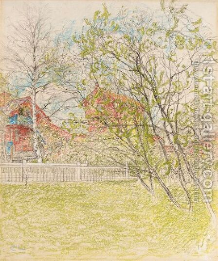Brygghuset (The Log Cabin) by Carl Larsson - Reproduction Oil Painting