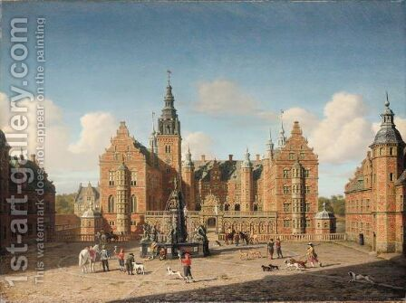 Frederiksborg Slot Den Kongelige Falke Jagt (Frederiksborg Castle Departure Of The Royal Falcon Hunt) by Heinrich Hansen - Reproduction Oil Painting
