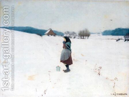 En Spadseretur I Sneen (A Walk In The Snow) by Hans Anderson Brendekilde - Reproduction Oil Painting