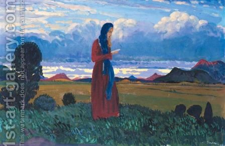 Girl Reading In A Landscape by James Dickson Innes - Reproduction Oil Painting