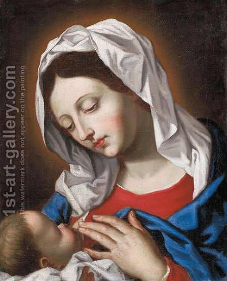 Madonna Col Bambino by Italian School - Reproduction Oil Painting