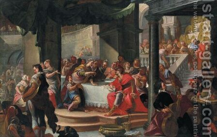 Banchetto Di Cleopatra by Italian School - Reproduction Oil Painting