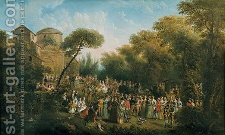 Cerimonia Nuziale All'Aperto by Jean-Antoine Watteau - Reproduction Oil Painting