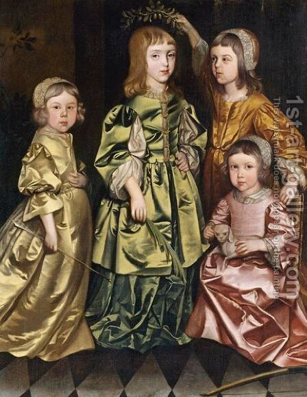 Portrait Of Four Children by (after) Gerard Soest - Reproduction Oil Painting