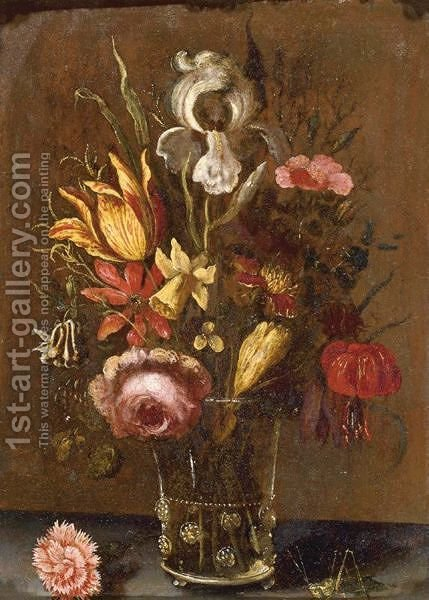 Still Life With An Iris, A Tulip, A Rose And Other Flowers In A Glass Vase, Resting On A Ledge With A Grasshopper by (after) Balthasar Van Der Ast - Reproduction Oil Painting