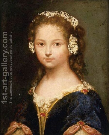 Portrait Of  A Girl, Said To Be Jeanne De Fleurieu by (after) Loo, Carle van - Reproduction Oil Painting