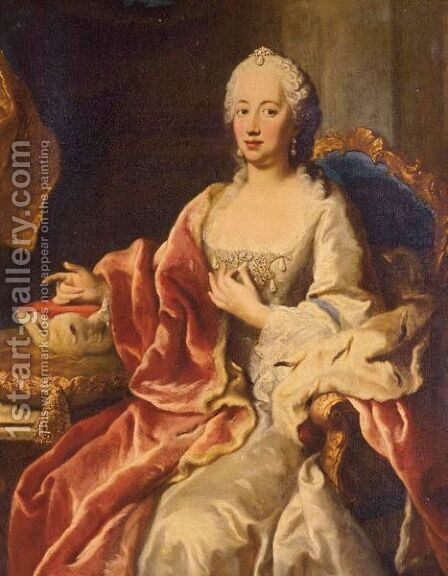 Portrait Of Maria Anna Joseph Charlotte, Born Princess Von Pfalz-Sulzbach (1722-1790) by (after)  Jacopo (Giacomo) Amigoni - Reproduction Oil Painting