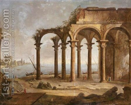 Capriccio Of Ruins By A Port With Figures And Boats, The Castel Sant'Angelo And City Walls Beyond by Giovanni Battista Moretti - Reproduction Oil Painting