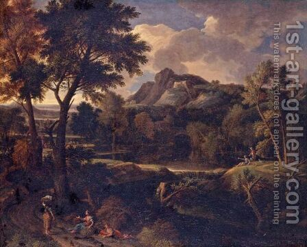 Arcadian Landscape With Classical Figures On A Path by (after) Gaspard Dughet - Reproduction Oil Painting