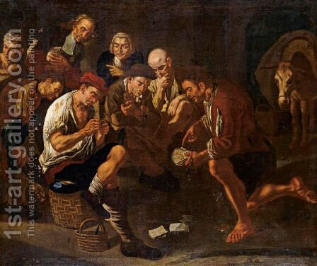 Men Gambling In An Interior by (after) Gaspare Traversi - Reproduction Oil Painting