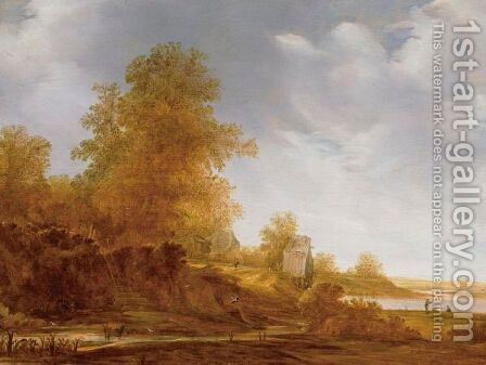 River Landscape With Figures Fishing In The Distance by Jacob van Mosscher - Reproduction Oil Painting