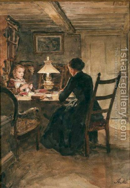Interieur Bei Lampenschein by Albert Anker - Reproduction Oil Painting