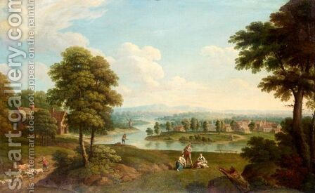 Landscape With A Farmer, Fisherman And Washerwomen by (after) Thomas Smith Of Derby - Reproduction Oil Painting