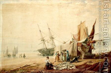 Figures Unloading Boats On The Shore by (after) William Henry Pyne - Reproduction Oil Painting