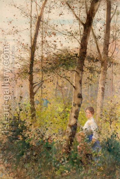 A Walk In The Woods by Hector Caffieri - Reproduction Oil Painting
