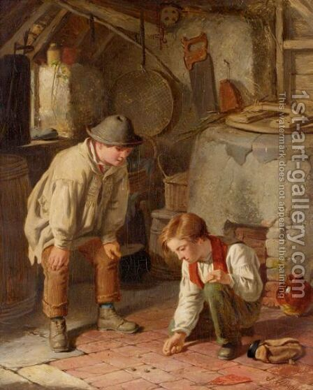 Playing Marbles by James Hardy Jnr - Reproduction Oil Painting