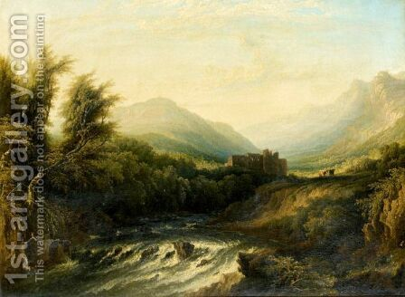 River Landscape With Cattle And Ruin Beyond by Horatio McCulloch - Reproduction Oil Painting