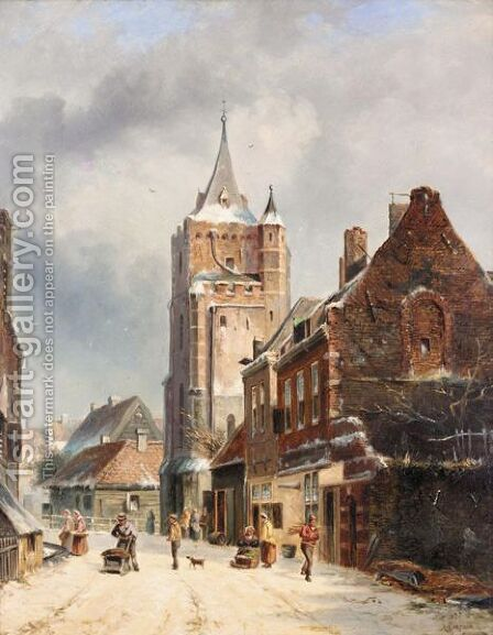 Dutch Winter Street Scene by Dutch School - Reproduction Oil Painting