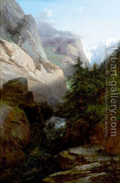 Alpine River Landscape by Alexandre Calame - Reproduction Oil Painting