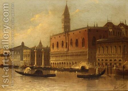 The Doge's Palace, Venice by August Friedrich Siegert - Reproduction Oil Painting
