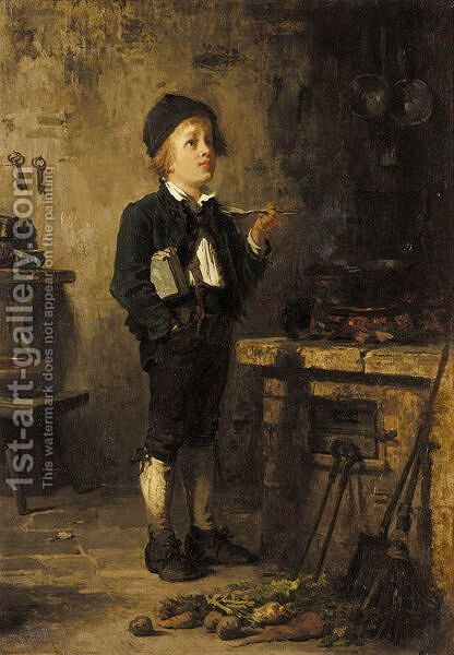 Tasting The Soup by Carl Bernhard Schloesser - Reproduction Oil Painting