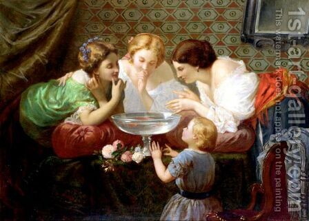 Watching The Goldfish by Henri Pierre Picou - Reproduction Oil Painting