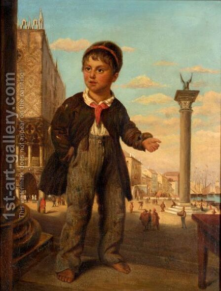 Little Boy In Venice by Italian School - Reproduction Oil Painting