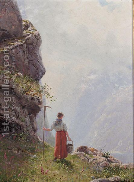 A Glimpse Of The Naro Fjord, Norway by Hans Dahl - Reproduction Oil Painting