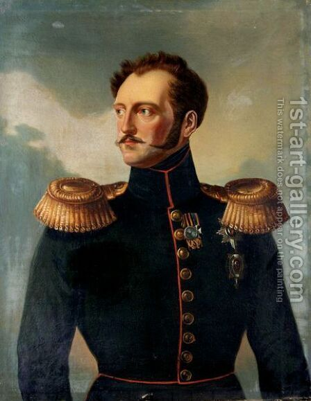 Portrait Of Emperor Nicholas I Pavlovich (1825-55) by (after) Franz Kruger - Reproduction Oil Painting