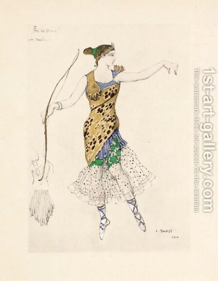 Costume Design For Anna Pavlova 'Pas De Diane' by (after) Leon (Samoilovitch) Bakst - Reproduction Oil Painting