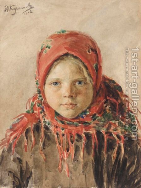 Russian Peasant Girl by Ivan Semenovich Kulikov - Reproduction Oil Painting