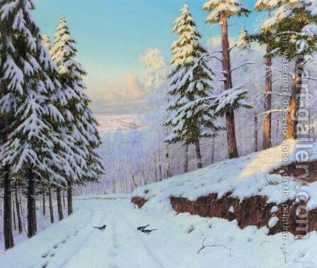 Winter Landscape by Boris Vasilievich Bessonov - Reproduction Oil Painting