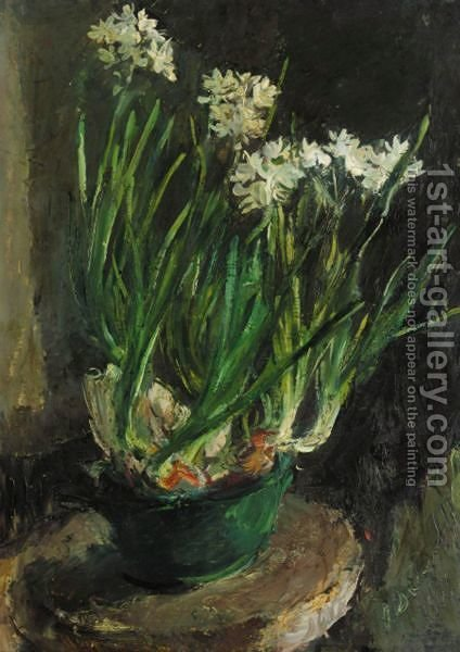 Flowers In A Green Pot by Alexander Evgenievich Yakovlev - Reproduction Oil Painting