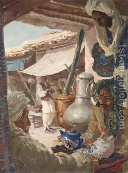 Bazaar At Ghazini by Alexander Evgenievich Yakovlev - Reproduction Oil Painting