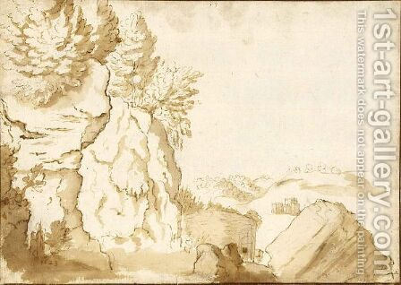 Wooded Mountain Landscape With A Distant Castle by (after) Pieter Dircksz. Santvoort - Reproduction Oil Painting