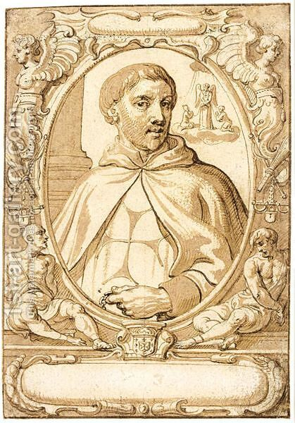 Design For A Book Illustration A Portrait Of St. John Of Matha by Abraham Jansz. van Diepenbeeck - Reproduction Oil Painting